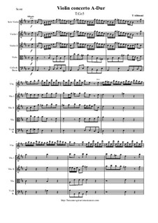 Violin Concerto in A-Dur, T.Co 5: Score and parts by Tomaso Albinoni