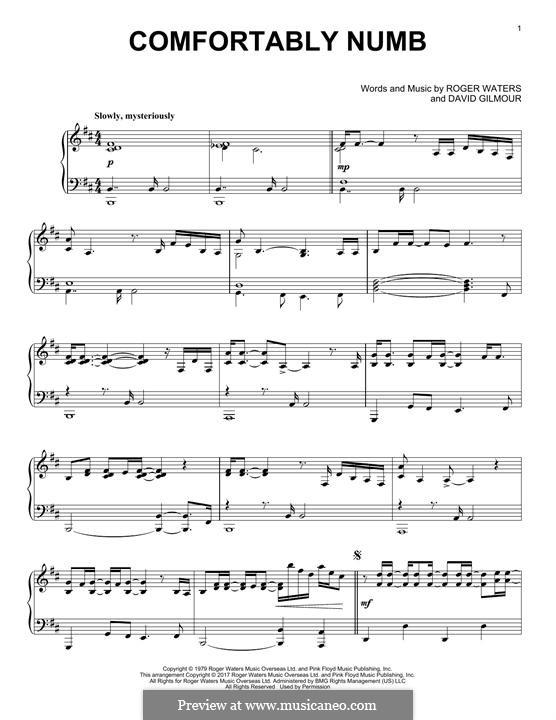 Comfortably Numb (Pink Floyd): Für Klavier by David Gilmour, Roger Waters