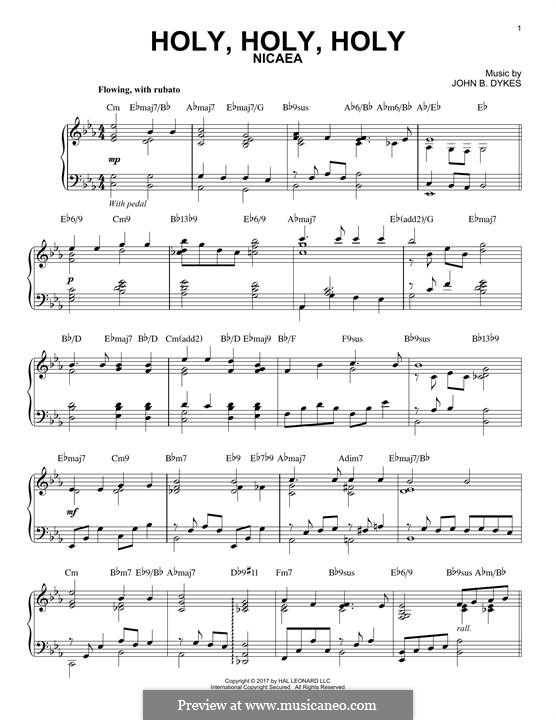 Holy, Holy, Holy! Lord God Almighty: Für Klavier by John Bacchus Dykes