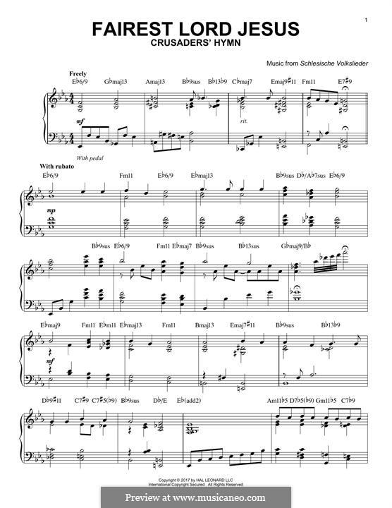 Fairest Lord Jesus: Für Klavier by folklore