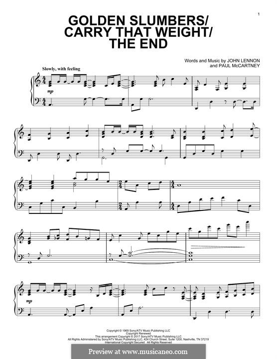 Golden Slumbers / Carry That Weight / The End: Für Klavier by John Lennon, Paul McCartney