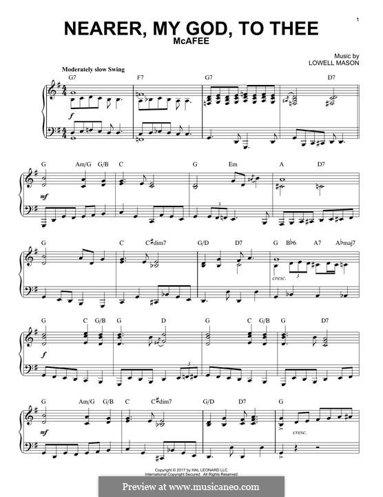 Nearer, My God, To Thee (Printable scores): Für Klavier by Lowell Mason