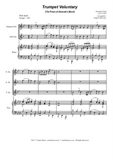 Prince of Denmark's March: For saxophone trio - piano accompaniment by Jeremiah Clarke