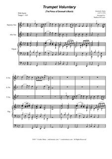 Prince of Denmark's March: For saxophone trio - organ accompaniment by Jeremiah Clarke