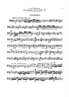 Sinfonie Nr.2 'Die vier Temperamente', FS 29 Op.16: Cellostimme by Carl Nielsen