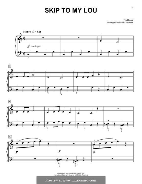 Skip to My Lou: Für Klavier by folklore