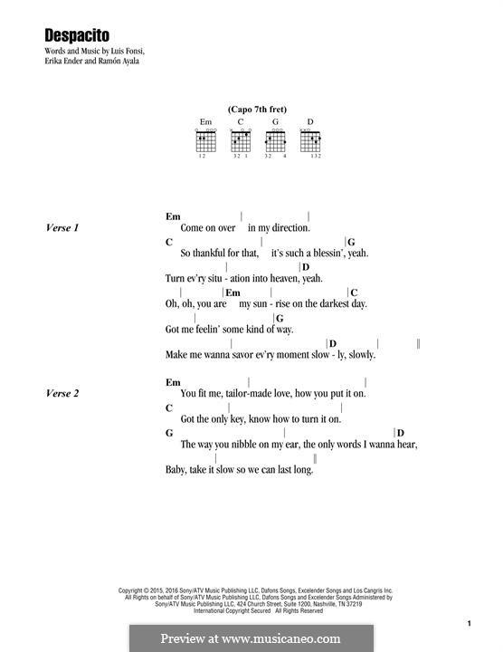 Despacito (feat. Justin Bieber): Text und Akkorde by Luis Fonsi, Erika Ender, Ramon Ayala