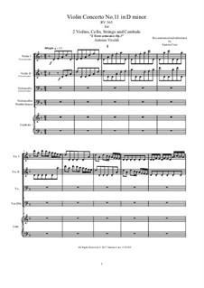 Konzert für zwei Violinen, Cello und Streicher Nr.11 in d-Moll, RV 565: Score, parts by Antonio Vivaldi