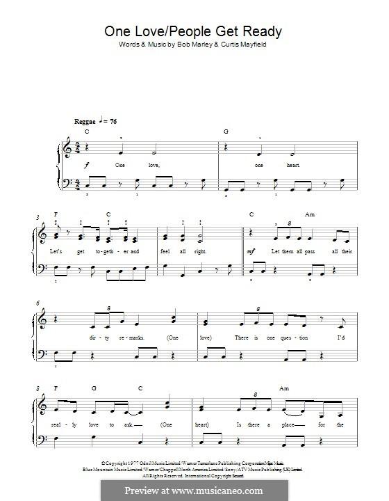 One Love / People Get Ready: Für Klavier by Bob Marley, Curtis Mayfield