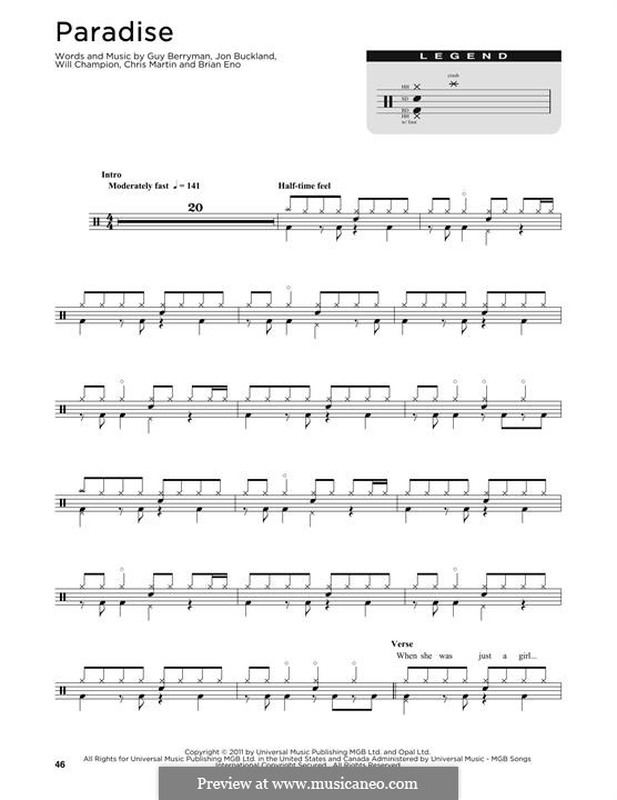 Paradise (Coldplay): Drum set by Brian Eno, Chris Martin, Guy Berryman, Jonny Buckland, Will Champion