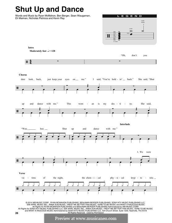 Shut Up and Dance (Walk the Moon): Drum set by Nicholas Petricca, Ryan McMahon, Eli Maiman, Ben Berger, Sean Waugaman