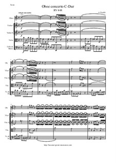 Concertofor Oboe and Strings in C Major, RV 448: Score and parts by Antonio Vivaldi