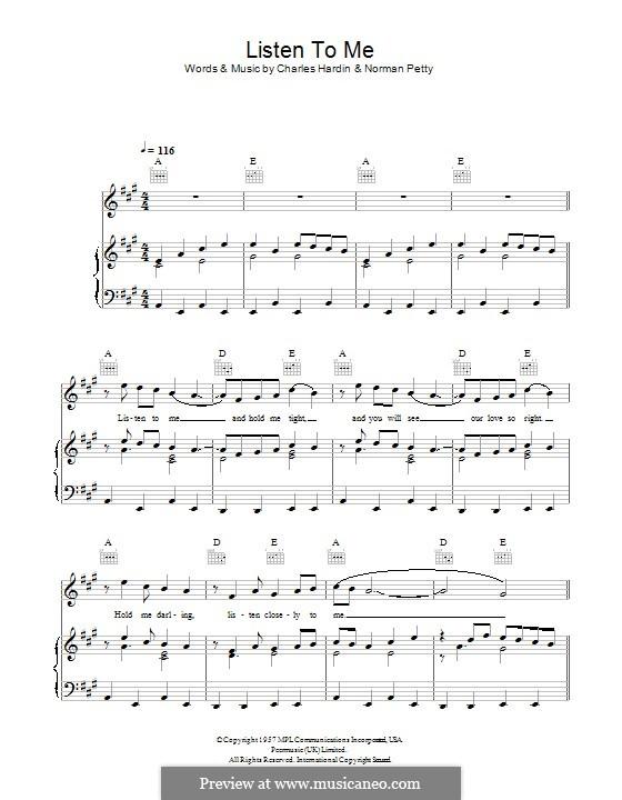 Listen To Me (Buddy Holly): Für Stimme und Klavier (oder Gitarre) by Charles Hardin, Norman Petty