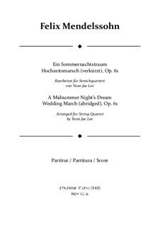 Hochzeitsmarsch: Für Streichquartett – Partitur by Felix Mendelssohn-Bartholdy