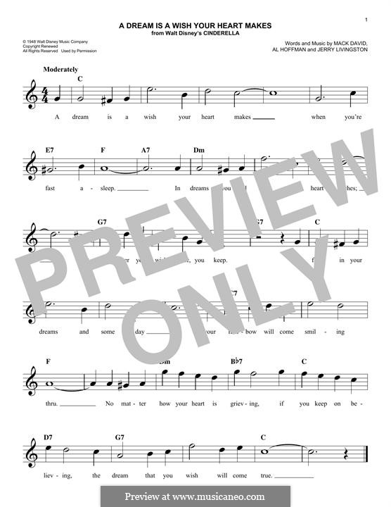 A Dream Is a Wish Your Heart Makes (from Disney's Cinderella): Melodische Linie by Al Hoffman, Jerry Livingston, Mack David