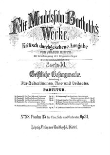 Psalm Nr.115 'Non nobis, Domine', Op.31: Psalm Nr.115 'Non nobis, Domine' by Felix Mendelssohn-Bartholdy
