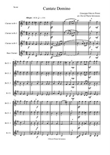 Cantate Domino: For clarinet quartet by Giuseppe Pitoni
