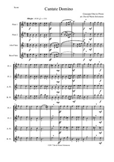 Cantate Domino: Für Flötenquartett by Giuseppe Pitoni