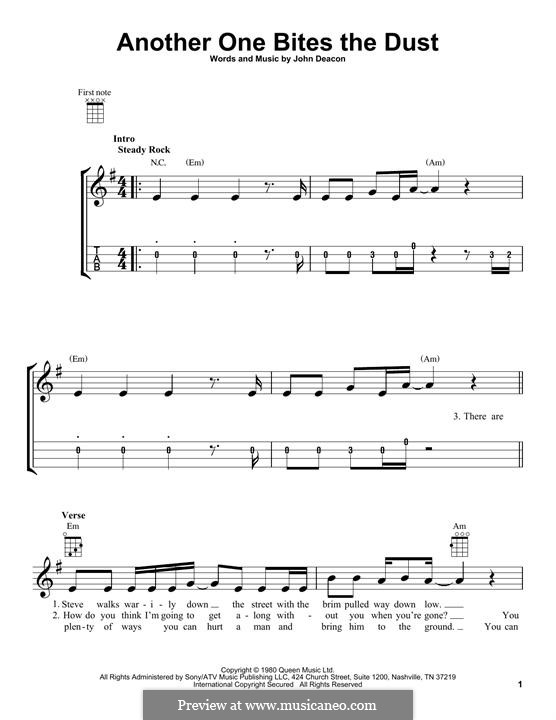 Another One Bites the Dust (Queen): Für Ukulele by John Deacon