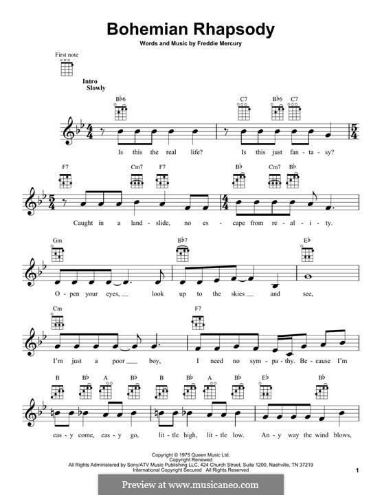 Bohemian Rhapsody (Queen): Für Ukulele by Freddie Mercury