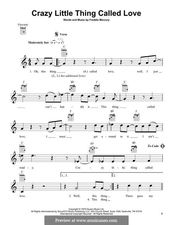 Crazy Little Thing Called Love (Queen): Für Ukulele by Freddie Mercury