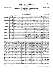 Sechs Sprüche, Op.79: Sechs Sprüche by Felix Mendelssohn-Bartholdy