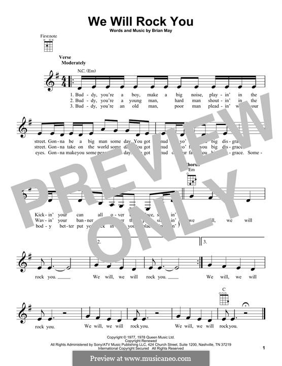We Will Rock You (Queen): Für Ukulele by Brian May