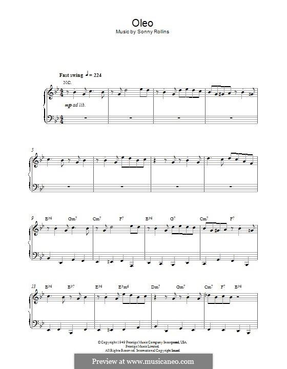 Oleo: Für Klavier by Sonny Rollins
