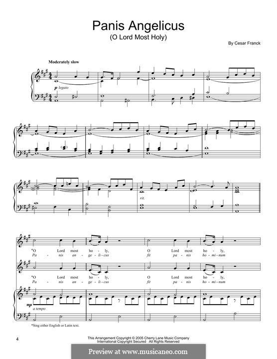 Panis Angelicus (O Lord Most Holy), Printable Scores: Für Stimme und Klavier by César Franck