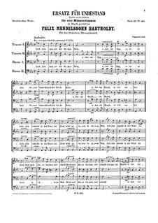 Ersatz für Unbestand, WoO 8: Ersatz für Unbestand by Felix Mendelssohn-Bartholdy