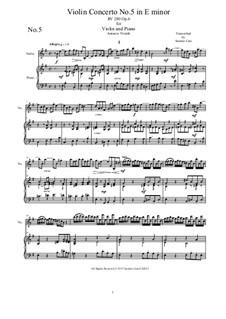 Sechs Konzerte für Streicher, Op.6: Concerto No.5 in E Minor. Version for violin and piano by Antonio Vivaldi