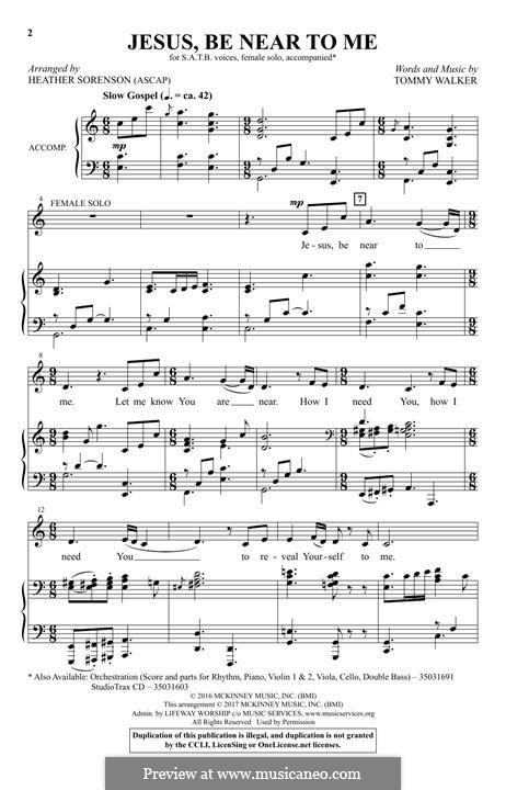 Jesus, Be Near To Me: Für gemischten Chor by Tommy Walker