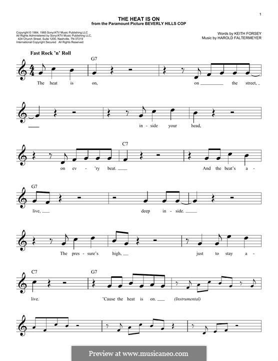 The Heat Is on (Glenn Frey): Melodische Linie by Harold Faltermeyer, Keith Forsey