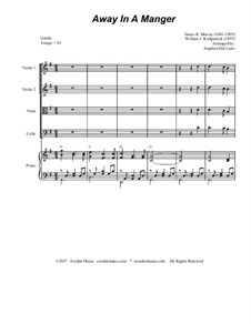 Away in a Manger: For string quartet and piano by James R. Murray