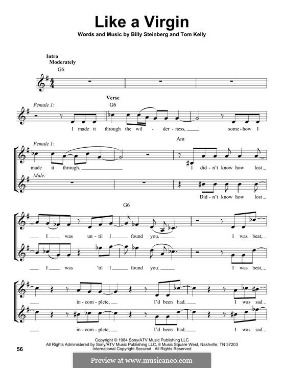 Like a Virgin (Madonna): Lyrics and chords (Glee Cast) by Billy Steinberg, Tom Kelly
