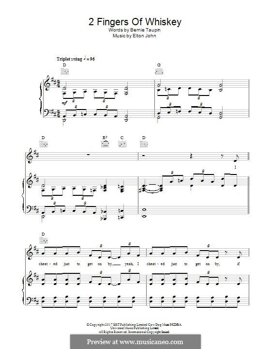 2 Fingers of Whiskey: Für Stimme und Klavier (oder Gitarre) by Elton John