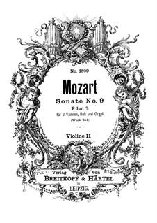 Kirchensonate für zwei Violinen, Orgel und Basso Continuo Nr.10 in F-Dur, K.244: Violinstimme II by Wolfgang Amadeus Mozart