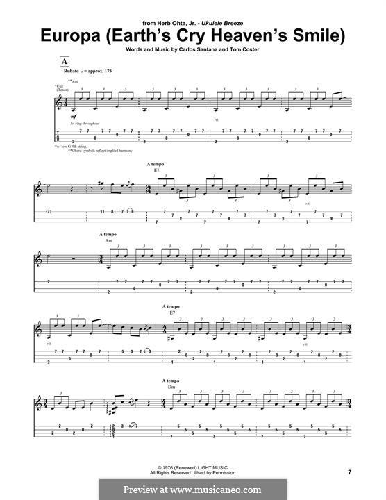 Europa (Santana): Für Ukulele by Carlos Santana
