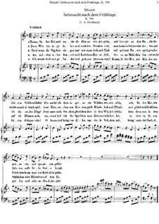 Sehnsucht nach dem Frühling, K.596: Klavierauszug mit Singstimmen by Wolfgang Amadeus Mozart