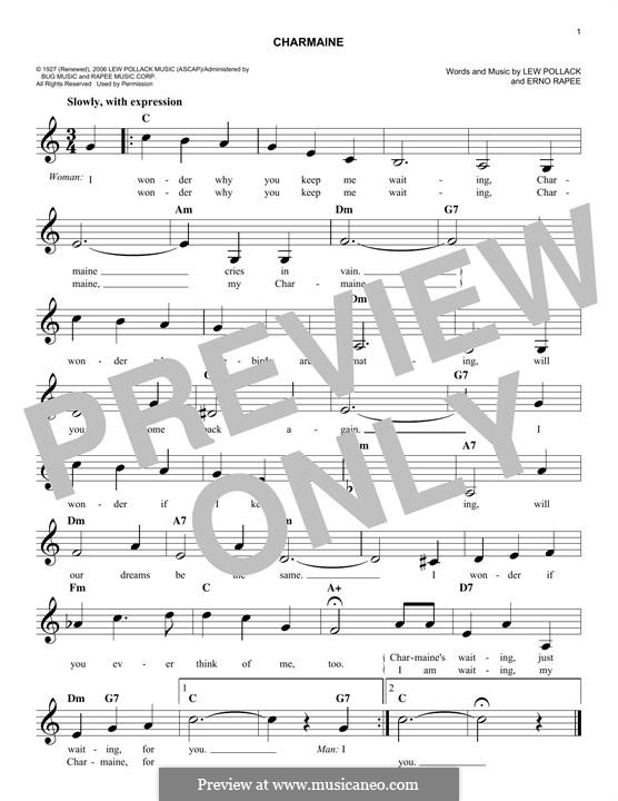 Charmaine: Melodische Linie by Erno Rapee