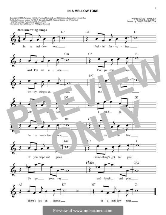 In a Mellow Tone: Melodische Linie by Duke Ellington