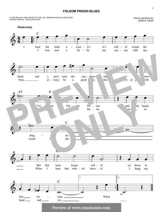 Folsom Prison Blues: Melodische Linie by Johnny Cash
