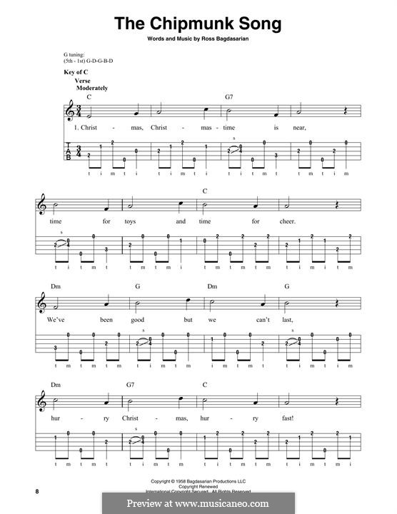 The Chipmunk Song (Alvin and the Chipmunks): For banjo by Ross Bagdasarian