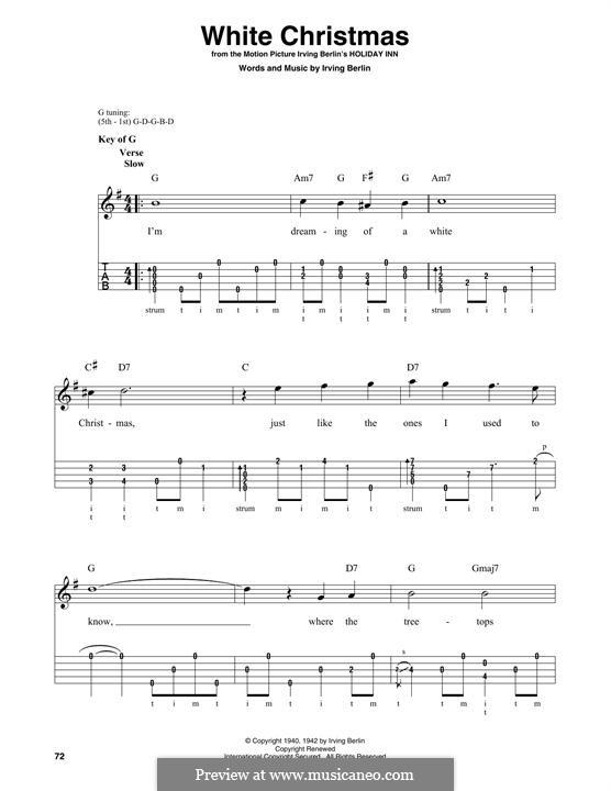 White Christmas. Instrumental version: For banjo by Irving Berlin