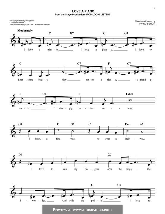 I Love a Piano: Melodische Linie by Irving Berlin