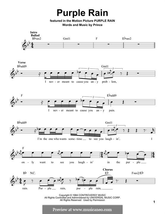 Purple Rain: Text und Akkorde by Prince