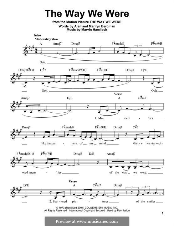 The Way We Were (Barbra Streisand): Text und Akkorde by Marvin Hamlisch