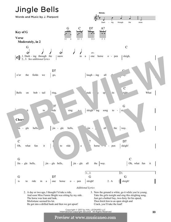 Jingle Bells (Printable scores): Für Gitarre by James Lord Pierpont