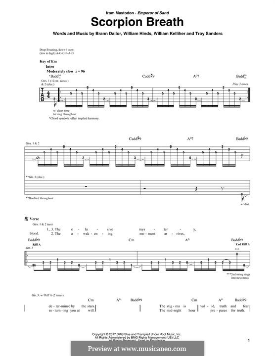 Scorpion Breath (Mastodon): Für Gitarre mit Tabulatur by Brann Dailor, Troy Sanders, William Hinds, William Kelliher