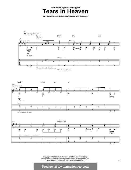 Tears in Heaven: Für Gitarre by Eric Clapton, Will Jennings